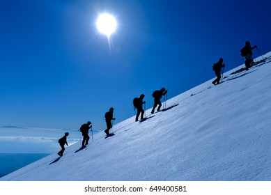mountaineering trekking in difficult conditions