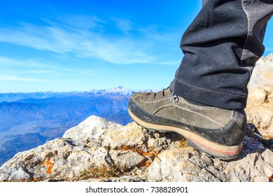 Mountaineers boot on top of a mountain