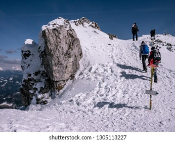 Mountaineers climb to the top of winter mountain