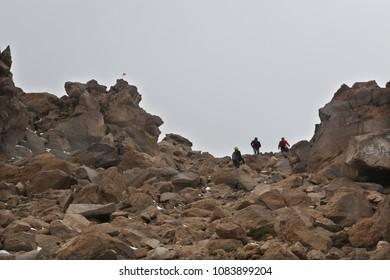 Mountaineers climbing Mount Savalan (Sabalan) mountain ridge in Iran. Savalan is the third highest mountain in Iran.