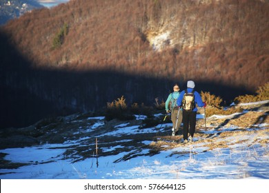 Mountaineers hiking at Mount Medenica road in Bistra Mountains, Mavrovo National Park, Macedonia.