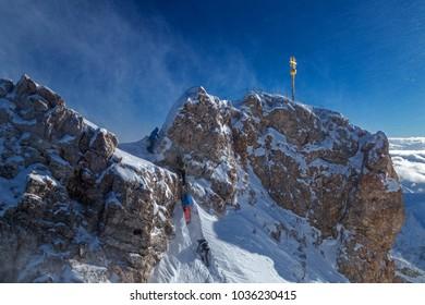 Mountaineers on summit of Zugspitze mountain, Germany