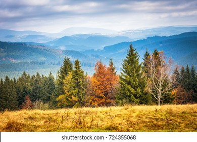 Mountainous countryside in north west Bohemian - Moravian region, view of Beskydy Mountains, Czech republic, Europe.