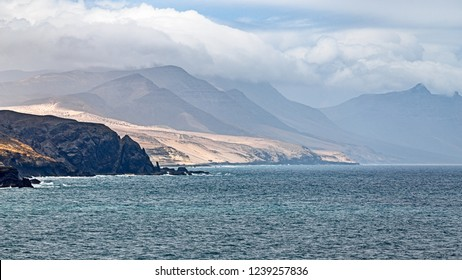 mountainous desert  Seascape in Fuerteventura, Canary islands