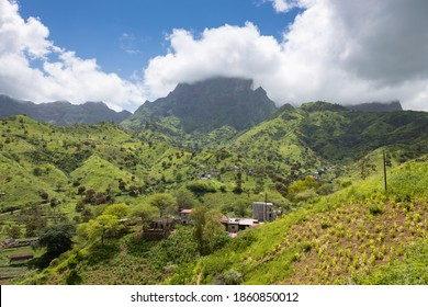 Mountainous green Santiago Island landscape in rain season - Cape Verde