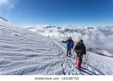Mountainous landscape, Elbrus, climbing the elbrus, clouds.
