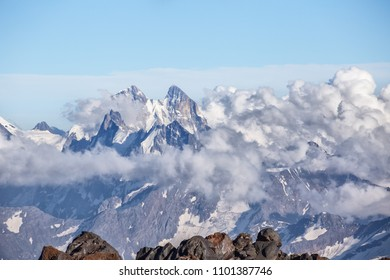 Mountainous landscape, Elbrus, climbing the elbrus, clouds.