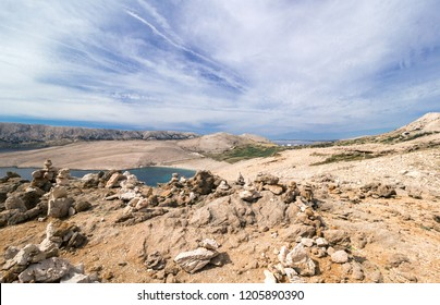 Mountainous landscape of Island of Pag, Croatia, Europe