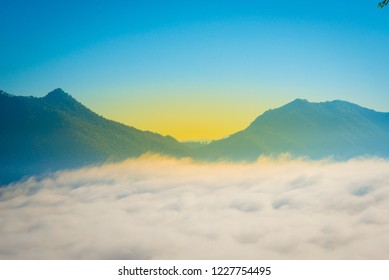Mountainous landscape with sky and beautiful mist.,Phu Tho Chiang Khan Thailand