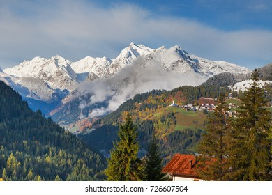 Mountainous landscape with the villages of Colle Santa Lucia and Selva di Cadore, at the Dolomites, Tyrol, Italy, EU
