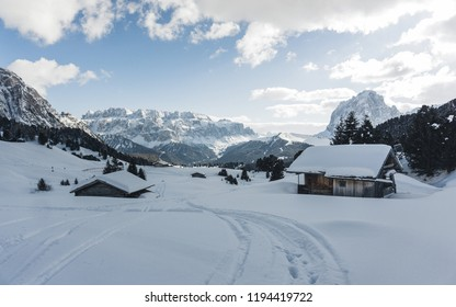 Mountainous panorma landscape. Classic view of famous Val Gardena mountain peaks in the Dolomites in winter, South Tyrol, Italy