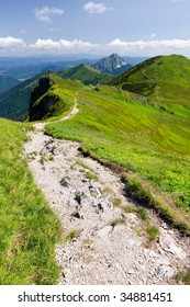 Mountain-ridge and blue sky with white clouds - Little Fatra hills - Slovakia - Central Europe