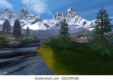 Mountains, 3D rendering, an alpine landscape, a house on the grass, a beautiful river and snowy peaks in the background.