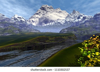 Mountains, 3d rendering, an alpine landscape, beautiful river, grass on the ground, snow on the peaks and a cloudy sky.