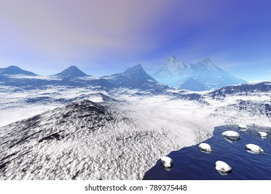 Mountains, 3D rendering, a rocky landscape, snowy stones in the sea and a cloudy sky.