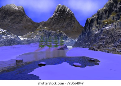 Mountains, 3D rendering, a winter landscape, a beautiful river in the gorge, stones, trees and a blue sky.
