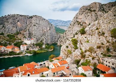 mountains above the small town Omis, Makarska Riviera, Croatia