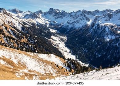 Mountains above Val di San Nicolo near Canazei, Dolomites, Italy