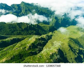 Mountains in the Achada do Teixeira, Madeira, Portugal