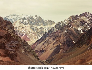 Mountains in Aconcagua national park. Andes, Argentina. Instagram filter