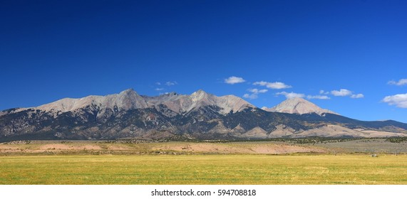 mountains across the san luis valley near great sand dunes national park, colorado, in the fall
