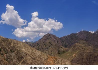 Mountains after the Tash-Kumyr,  near  Naryn River, the Osh  Bishkek  road, Kyrgyzstan
