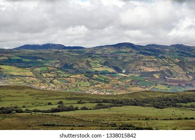 Mountains and agricultural fields around the high altitude El Angel Reserve in Northern Ecuador