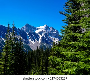 The Mountains along the Tea House Trail in the Rocky Mountains in Banff National Park in Alberta Canada