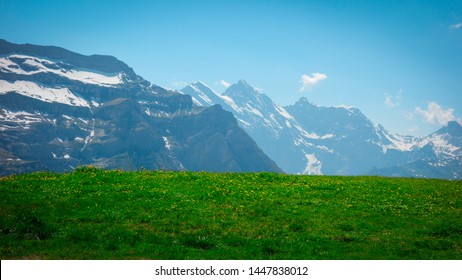 Mountains in the Alps at the Eiger trail overlooking Grindelwald areas