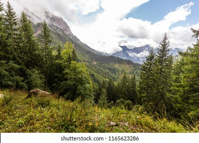 Mountains Kamnik–Savinja Alps range summit forest beautiful view. Crossing hiking backpacking Slovenia. Europe travel tourism destinations beautiful landscape.