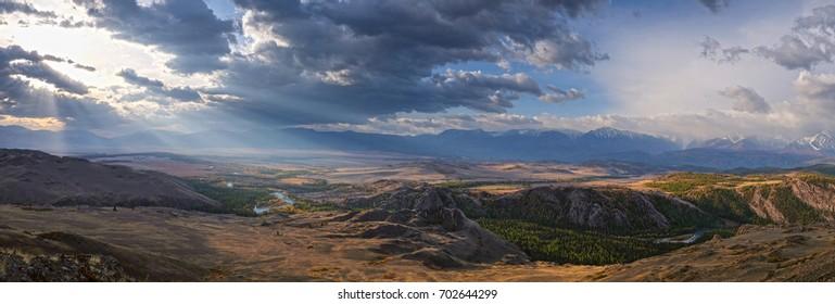 The mountains in the Altai Krai,Russia. Kurai steppe, mountain valley. panorama, mountains, morning