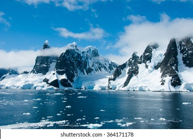Mountains of Antarctica in sunny day