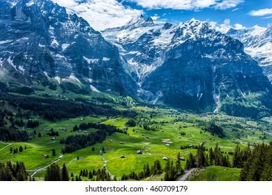 Mountains around Grindelwald area, first station, Switzerland.