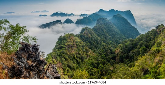 Mountains around Mt Zwegabin in a mist near Hpa An, Myanmar