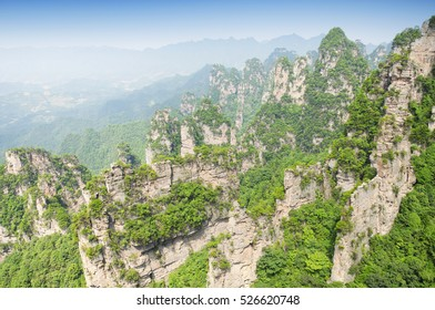 The mountains around tian bo fu, tianbo mansion scenic area, in the Zhangjiajie national forest park in Hunan province China.