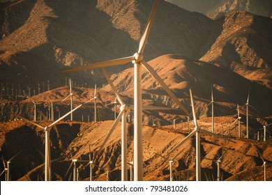Mountains Based Renewable Energy Power Plant. Wind Energy. Coachella Valley, California, United States of America.