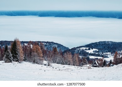 Mountains of Belluno at daylight. Snow covered fields on foreground. Vibrant colors. Veneto region of Italy