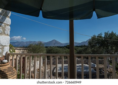 Mountains as can be seen from a balcony in Southern Greece.