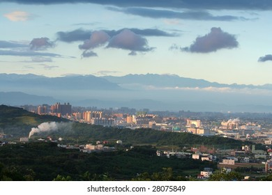mountains and city in Taiwan