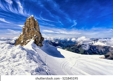 Mountains and cliff with snow,ski area,Titlis mountain,switzerland
