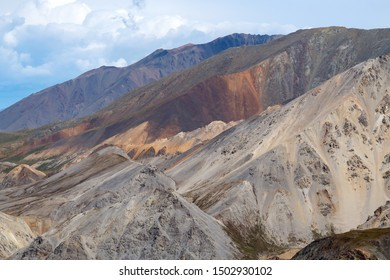 Mountains and cliffs above the Kaskawulsh River in Kluane National Park, Yukon, Canada