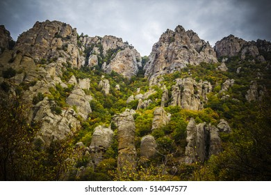 Mountains in the clouds. Autumn landscape. Background. Cloud.Sunny day.The slope of the mountain. Open.Fog
