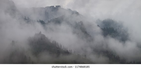 Mountains in the clouds, natural backgrounds