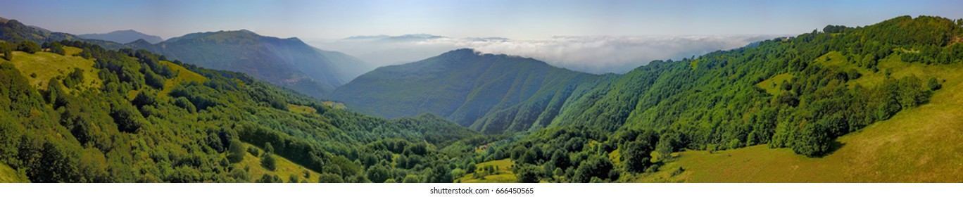 mountains and clouds panorama landscape aerial made with drone