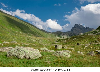 kaçkar mountains with cloudy sky seen from kaçkar valley rize province in turkey. The Kaçkars are glaciated mountains that are alpine in character, with steep rocky peaks and numerous mountain lakes.
