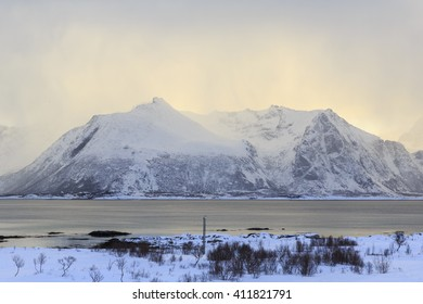 Mountains and coastal area near Valberg on Lofoten Islands, Vestvagoy, Nordland, Norway