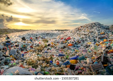 mountains of colored plastic garbage / trash