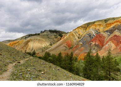 mountains with colored rock elements