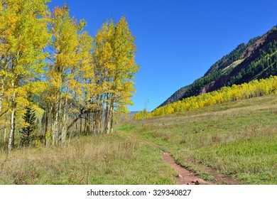 mountains with colorful yellow, green and red aspen during foliage season in Colorado