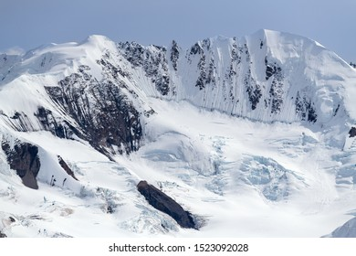 Mountains covered with deep snow in Kluane National Park, Yukon, Canada